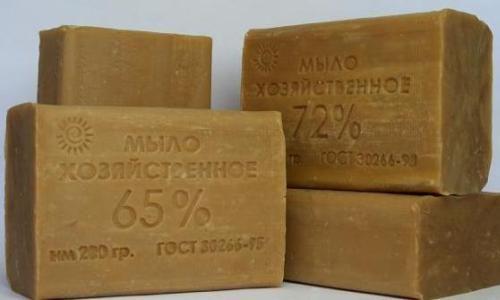 Содержание 60 или 72% натуральных жиров в составе хозяйственного мыла